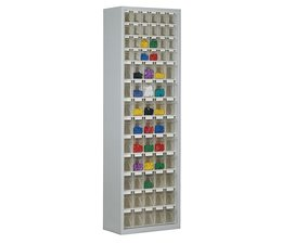 Parts storage cabinet with 69 clear boxes • 2000 mm high