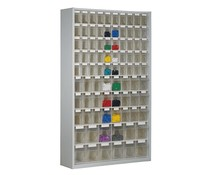 Parts storage cabinet with 86 clear boxes • 2000 mm high