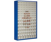 Parts storage cabinet with 154 clear boxes • 2000 mm high