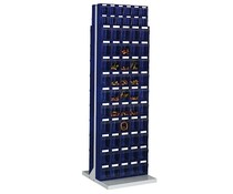 Workshop shelf with 124 bins