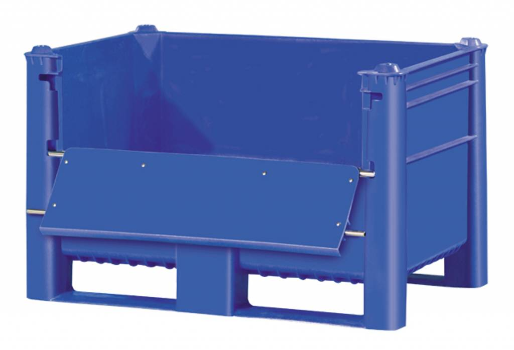 Plastic Box Pallet 1200x800x740 500l Blue Upper Door