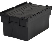 LOADHOG Attached lid container 600x400x310 dark grey • 56 Liter