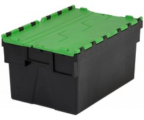 LOADHOG Attached lid container 600x400x365 green • 65 Liter