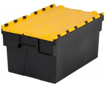 LOADHOG Attached lid container 600x400x365 yellow • 65 Liter