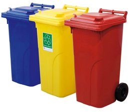 Waste and recycling containers with 2 wheels, 120L, according to DIN EN 840, max load 60 kg