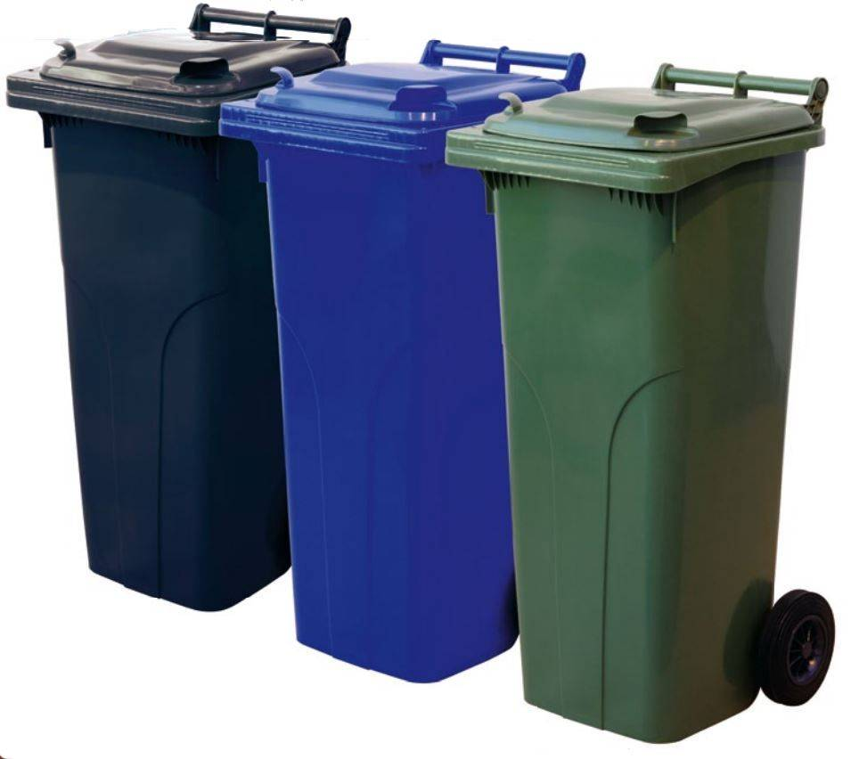 Waste And Recycling Containers With 2 Wheels 140 Liters