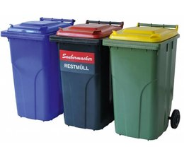 Waste and recycling containers 2 wheels, 240 Liters, according to DIN EN 840, max load 112 kg