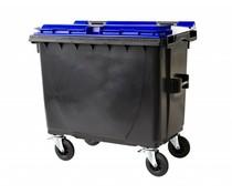 Großmüllbehälter • mit Flachdeckel • 660 Liter • Tragkraft 310 kg • Standart Grau