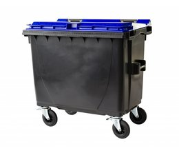 Waste and recycling containers, 660L, according to DIN EN 840, 4 wheels, max load 310kg, Standard grey