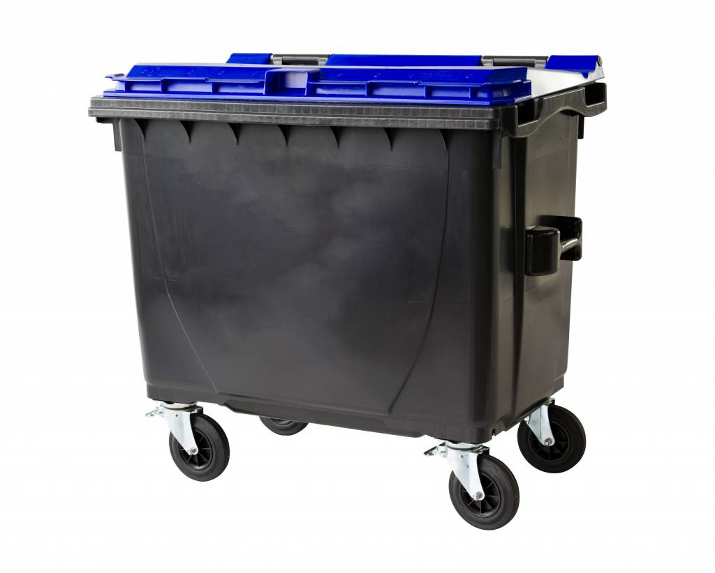 Waste And Recycling Containers With Flat Lid 4 Wheels
