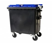 Waste containers with flat lid • 770 Liters • 4 swivel wheels • max load 360 kg • Standard grey