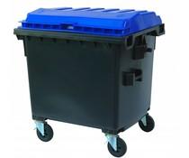 Afvalcontainer met vlak deksel • 1100 Liter • draagkracht 510 kg • Standaard grijs
