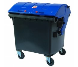 Waste and recycling containers, 1100 L, according DIN EN 840, 4 wheels, max load 510 kg, Standard Grey