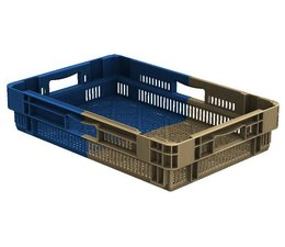 Drehstapelbehälter 600x400x127 perforiert, 22 Liter, 4 Handgriffe • Bi-Color