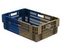 Stack nest container 600x400x187 perforated • 34 Liter • Bi-Color