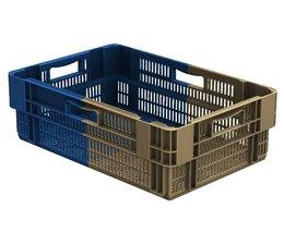 Drehstapelbehälter 600x400x187 perforiert, 34 Liter, 4 Handgriffe • Bi-Color