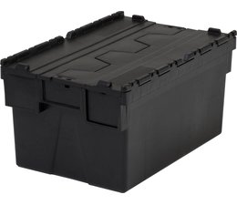 LOADHOG Attached lid container 600x400x400 dark grey • 77 Liter