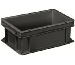 ESD Euro container 300x200x120 solid two handles, suited for handling of electronic components