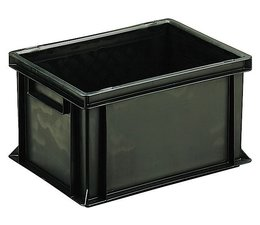 ESD Euro container 400x300x220 solid two handles, suited for handling of electronic components