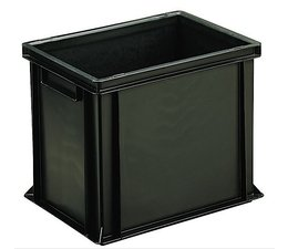 ESD Euro container 400x300x320 solid two handles, suited for handling of electronic components
