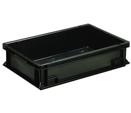 ESD Euro container 600x400x120 solid two handles, suited for handling of electronic components