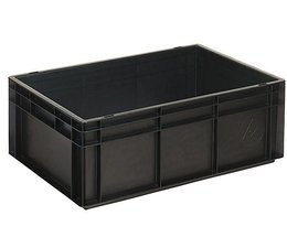 ESD Euro container 600x400x220 solid two handles, suited for handling of electronic components