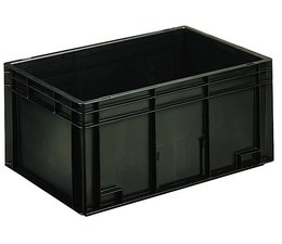 ESD Euro container 600x400x280 solid two handles, suited for handling of electronic components