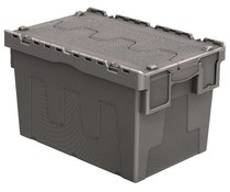 Attached lid container 600x400x365 grey • 67 Liter