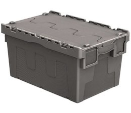 Attached lid container 600x400x315 grey • 54 Liter