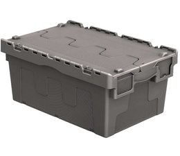 Attached lid container 600x400x265 grey • 46 Liter
