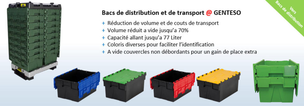 Bacs de distribution avec couvercle intégré, Bacs de transport