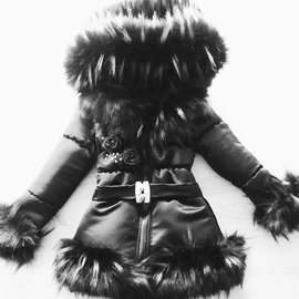 Bontkraag Winterjas Zwart met Roosjes