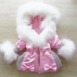 Winterjas Inclusief bontkraag Roze met glitter