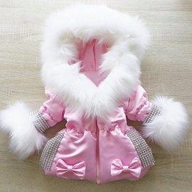 DAMES Winterjas Inclusief bontkraag Roze met glitter