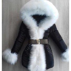 Luxe Bontkraag winterjas met steentjes Inclusief bontkraag