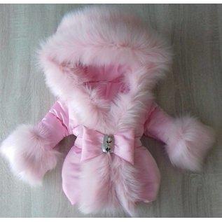 Roze winterjas met Grote bontkraag