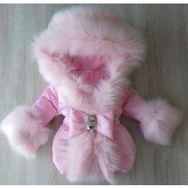 DAMES  Roze winterjas met Grote creme bontkraag