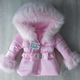 Roze winterjas inclusief bontkraag