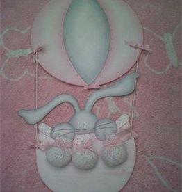 Batle Nicolau Wanddekoration groß Heißluftballon Holz rosa