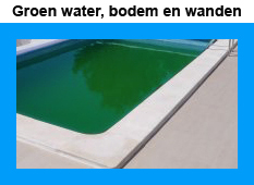 Groen zwembadwater groene bodem en wand