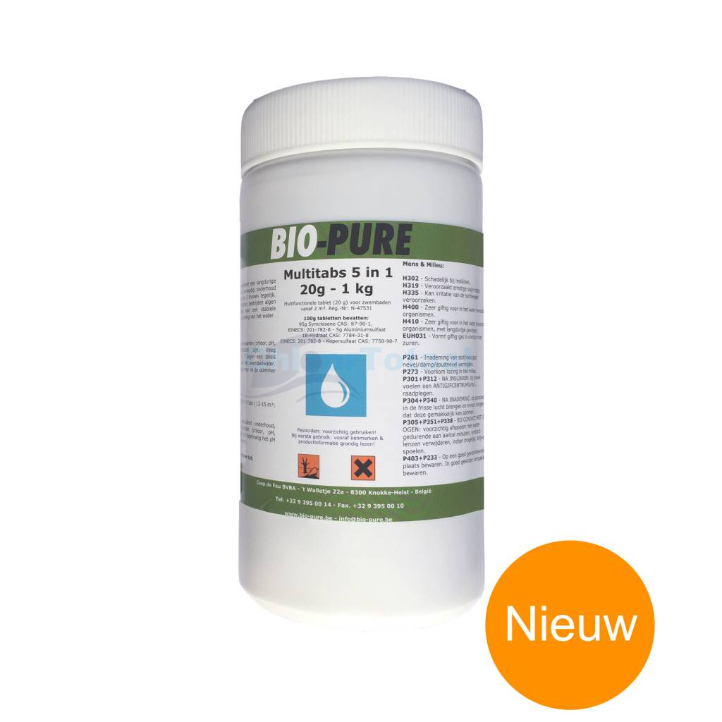 bio pure chloor 5 in 1 multitabs 20gr 1kg chloortotaal. Black Bedroom Furniture Sets. Home Design Ideas