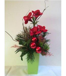 Kerststuk Amarylis rood 40 cm