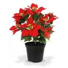 Poinsettia x9 kunstplant rood in pot