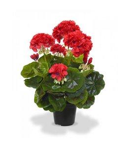 Geranium kunstplant 40 cm rood in pot