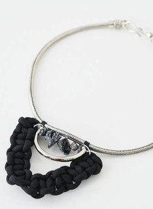 Obsidian tribal choker necklace