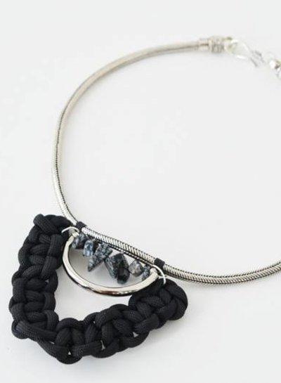 Obsidian tribal choker necklace