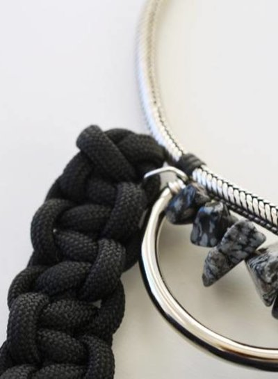 Obsidiaan tribal choker ketting