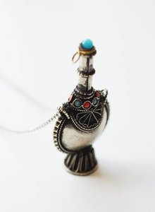 Tribal snuff bottle necklace