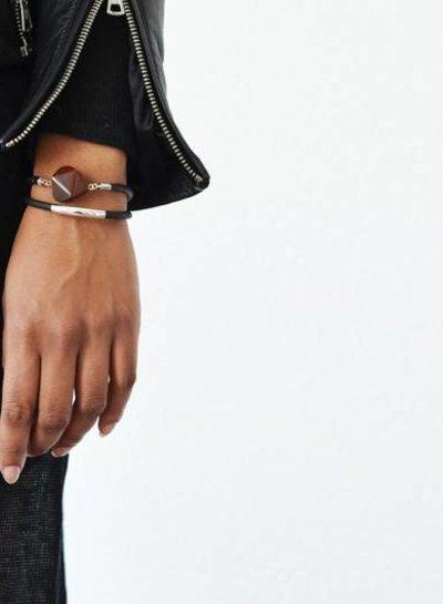 Leren Jasper steen armband bruin