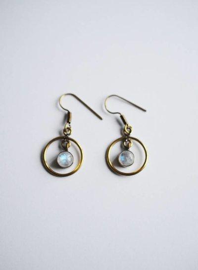 Moon circle earring